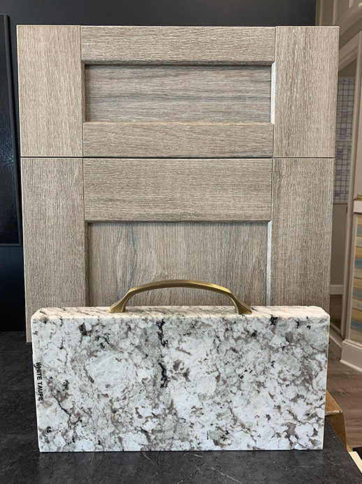Waypoint Glaze Drift Cabinetry with Granite White Taupe
